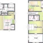 B邸 土地面積 62坪 建物面積 33.48坪(間取)