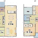 B棟 敷地面積 70坪 延床面積 36.32坪(間取)